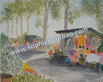 Walk in the South of the France: the flower - watercolor market