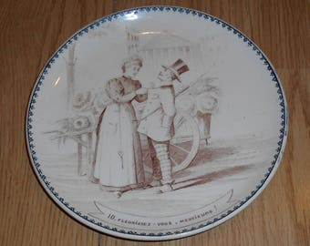 Antique Victorian Plate, The Flower Marketer, Creil & Montereau, Marked, Deco, country French