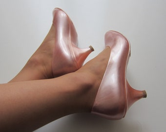 Shoes JELLY SHOES plastic Pink mother of Pearl 1980 1990 Barbie Shoes Vintage 80 s 90 s
