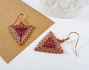 Rose Gold Triangle Earrings. Modern Geometric Earrings. Red & Copper Seed Beads. Ladies Birthday Gift. Two Tone Earrings. Everyday Jewellery