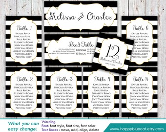 DiY Printable Wedding Seating Chart Template - Instant Download - EDITABLE TEXT -  Black & White Stripes, Gold Frame - MS® Word Format HBC7n