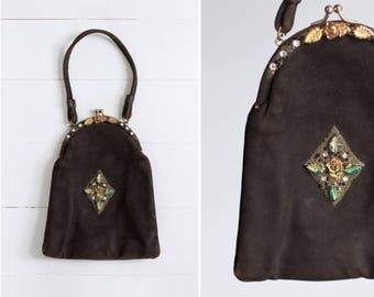 vintage 1940s brown purse | 1940s evening bag | 1950s beaded purse | 40s handbag
