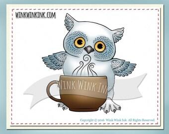 Digital Stamp - Night Owl - with coffee mug -  Printable image - digistamp
