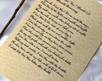 Romantic 'How Do I Love Thee?' Poem (Sonnet 43) by Elizabeth Barrett Browning Handwritten in Calligraphy Custom Print / Original