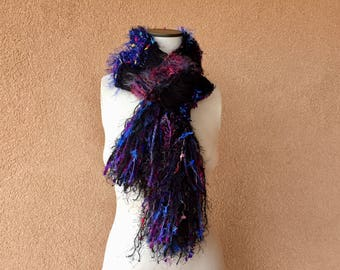 Scarf Jewel Tone and Black Scarf, Gift for Best Friend Gift Accessories Scarf, Women Scarf Fringe with Blue, Fuchsia, Red, Sparkle
