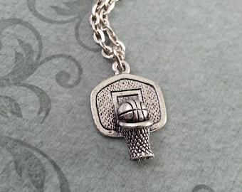 Basketball Hoop Necklace, Basketball Jewelry, Silver Basketball Pendant, Basketball Charm, Basketball Gift, Sports Jewelry, Pendant Necklace