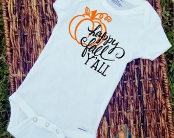 Happy Fall Y'all/Onesie/Custom/Personalized/Gift/Holiday