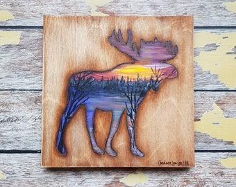 Moose Silhouette Painting   Wildlife Art   Landscape Painting   8×8   Painting on Wood   Moose Silhouette Art   Landscape Painting on Wood