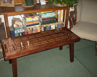 Perfect CRIBBAGE TABLE, Cribbage Board Coffee Table, Mahogany Minwax Stain, Father, Cribbage  Board