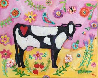 Folk Art Cow Painting on Canvas