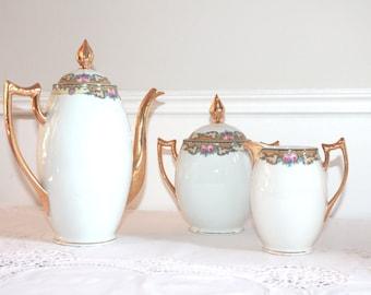 Limoges Porcelain Trio, Limoges Teapot, Sugar Bowl, Creamer, Milk Jug, Art Déco, White and Gold Decor, White Porcelain, Afternoon Tea