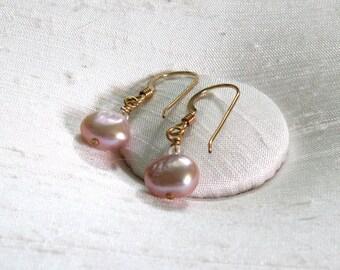 Pearl Earrings: Simple Wire-Wrapped Mauve FWP Dangles w/14Kt GF Ear Hooks