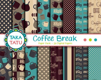 Coffee Break Paper Pack - Coffee Background / Coffee Patterns / Coffee Printable / Coffee Shop / Coffee Mug / Patterned Background