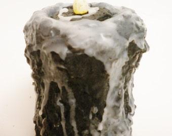 Black Glazed Pillar Candle, Primitive Halloween, Decorative Candles