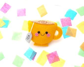 Yellow Tea Felt Badge, Bag Accessory, Teacup Present, hannahdoodle