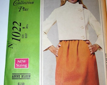 Vintage 1960s McCall's 1022 Jacket Skirt and Blouse New York Designers' Collection Anne Klein Bust 31.5