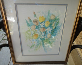 Anneha Nichols Flowers water color Limited Print, Signed 838 of 1950