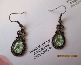 Green Paisley design earrings