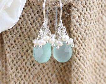 Aqua Chalcedony, Freshwater Pearl & Sterling Silver Cluster Earrings. Beaded Gemstone Dangle Earrings. Bead Drop Earrings. Womans Jewellery