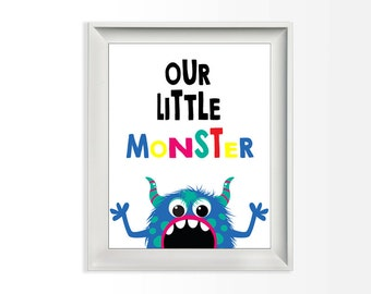107 Our Little Monster | Monster Nursery Art | Babys Room Decor | Wall Print Nursery Art Printable 8x10 jpg & pdf file INSTANT DOWNLOAD