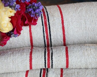 Nr. 867:  antique RED and  BLACK STRIPED 6.12 yards perfect for tablerunner upholstering 20.87 wide cushions decoration