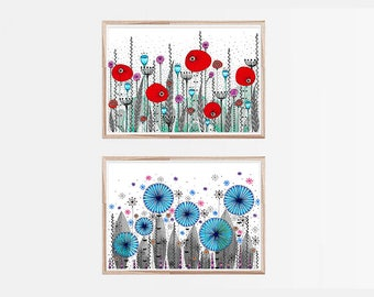 "2 Original Drawings - Flowers. - 12x17"" Art Print, Wall Decor, Illustration"