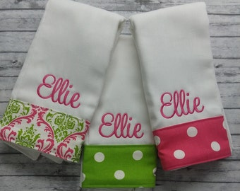 Burp cloth set,personalized burp cloth,baby shower gift,girl baby gift, monogrammed burp cloth set