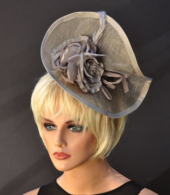 Derby Fascinator, Kentucky Derby Hat, Wedding Fascinator, Wedding Hat, Kentucky Derby Fascinator Ascot Hat Headpiece, Occasion hat Taupe hat
