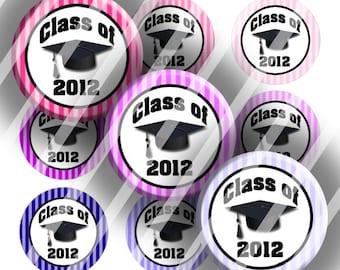 "Editable Bottle Cap Collage Sheet - Graduation Class (246) - 1"" Digital Bottle Cap Images"