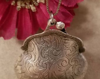 Large Purse Locket, Silver Purse Locket, Functioning Purse Pendant, Scroll Purse, Sterling Silver Chain, Vintage Necklace, Patina Finish