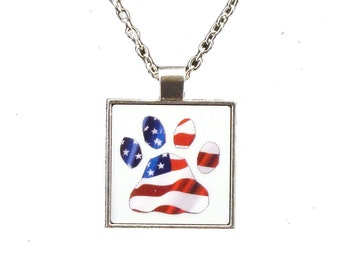 Dog Paw USA Flag Pendant with Chain Necklace - Free Shipping
