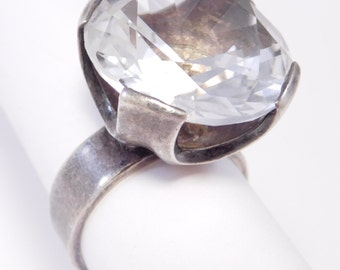 Swedish Modernist 925S Large Rock Crystal Ring