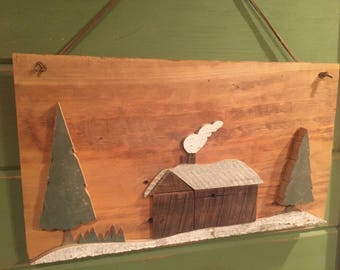 Cabin in the Woods Reclaimed Wood- reclaimed barn wood cut to form cabin in the woods- cedar trees- pine trees
