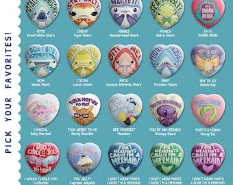 Heart Shaped Buttons! // Super Kawaii Sharks and Cute Aquatic Animal // Punny Pinback Buttons