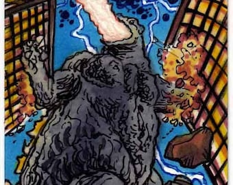 "IDW Godzilla ""After Alex Ross"" Cover Recreation Personal Sketch Card Original Artwork Kaiju Monsters Big Beasts Collector Item"