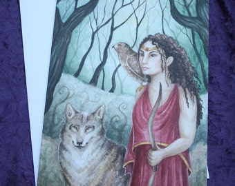 """Art Greeting Card, """"Artemis of the Mists"""", Card with Envelope, Original Watercolor Painting by Victoria Chapman"""