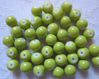 27 Kiwi Lime Green Opaque Round Glass Beads  8mm