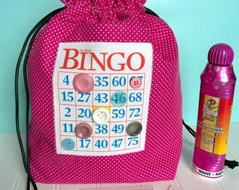 Bingo Bag - Pink Polka Dot Drawstring Bag - Knitting Project Bag - Mother's Day Gift - Bingo Gift - Bingo Caddy - Makeup Bag