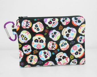 Sugar Skulls Large Carabiner Coin Purse, Black Coin Purse, Day of the Dead Unisex Coin Purse
