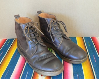 Brown leather ankle boots,  size 7 1/2  Chukka boots, Women's size 7 1/2 ankle boots, Lace up ankle boots, grunge boots