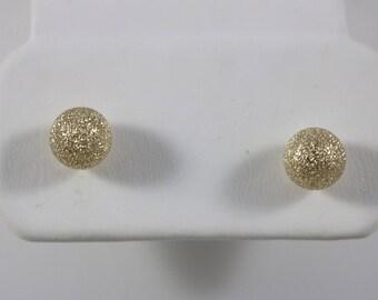 12k Yellow Gold Bling Sphere Ball Post Earrings 0.5g