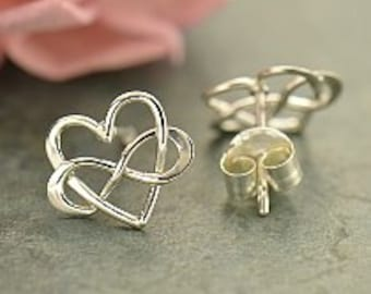 Sterling Silver Infinity Heart Post Earrings, 925 Silver,  9mm x 10mm x 1mm thick,