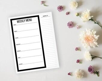 Simple Modern Black Menu Planner and Grocery List - Daily Menu Planner Sheet - Dinner Menu Planner - Meal Prep Page - Grocery List Planner