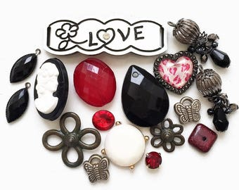 destash of red black silver white love theme salvaged jewelry components for creating assemblages and ooak designs--mixed lot of 17 items