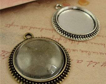 50pcs 20 mm Zinc Alloy Pendant Trays  Antique Style Pendant Blanks Bezel Setting,Photo pendants
