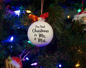 """Christmas Ornament """"Our First Christmas As Mr. And Mrs.""""  **Free Domestic Shipping**Personalized Ornament"""