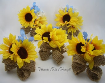 Rustic Sunflower Burlap Corsage, Yellow and Blue Summer Fall Wedding Flowers, 1 corsage made to order