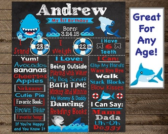 Shark birthday chalkboard, shark first birthday, shark chalkboard, shark birthday party, shark theme, shark second birthday, boy first bday