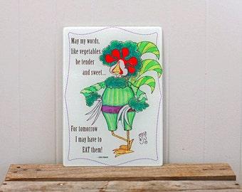 Glass Cutting Board Trivet Broccoli Vegetable Wisdom Phrase 8x11 inches