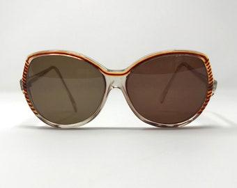 Vintage 70s Hippie Big Round Orange Trim Sunglasses Jackie O Sunnies
